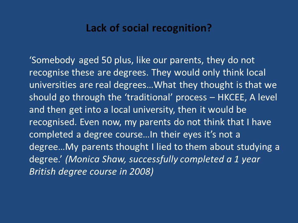 Lack of social recognition.