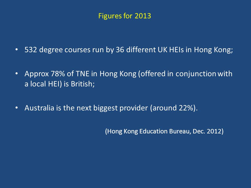 Figures for 2013 532 degree courses run by 36 different UK HEIs in Hong Kong; Approx 78% of TNE in Hong Kong (offered in conjunction with a local HEI) is British; Australia is the next biggest provider (around 22%).