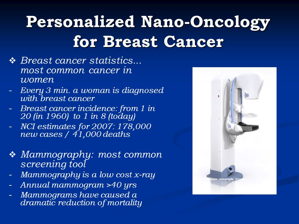 GE Healthcare Senographe Essential Personalized Nano-Oncology for Breast Cancer  Breast cancer statistics...