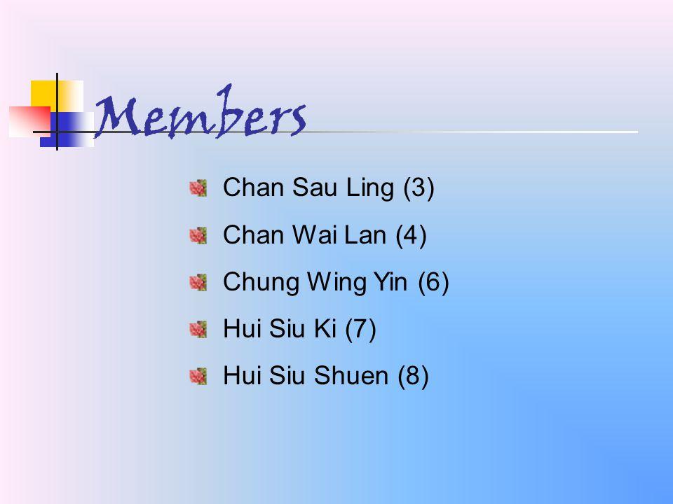 Chan Sau Ling (3) Chan Wai Lan (4) Chung Wing Yin (6) Hui Siu Ki (7) Hui Siu Shuen (8) Members