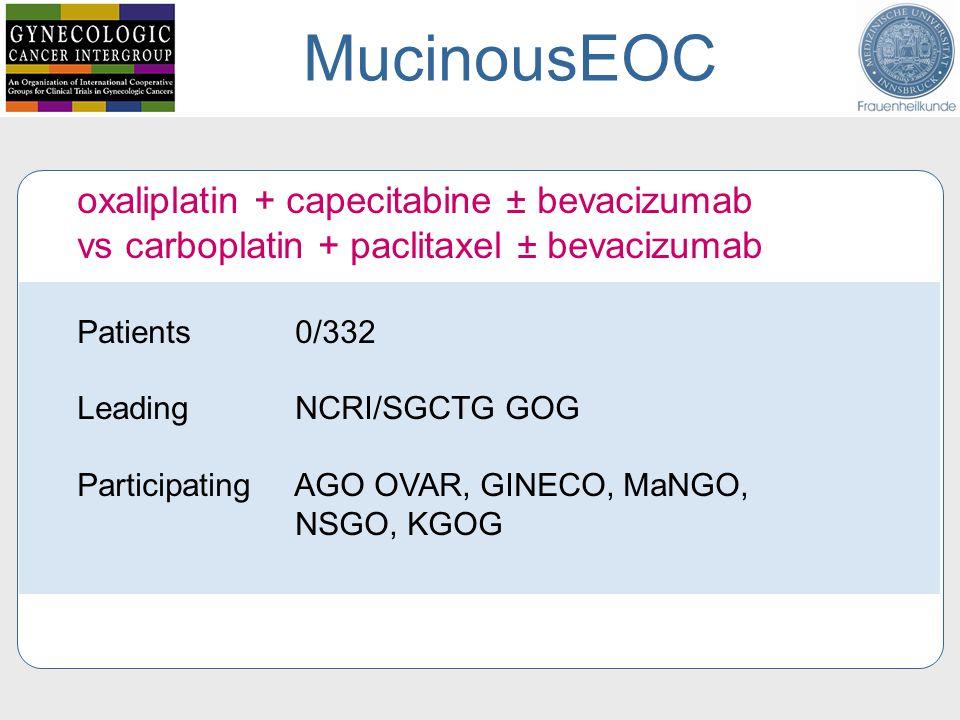 oxaliplatin + capecitabine ± bevacizumab vs carboplatin + paclitaxel ± bevacizumab Patients 0/332 Leading NCRI/SGCTG GOG Participating AGO OVAR, GINECO, MaNGO, NSGO, KGOG MucinousEOC