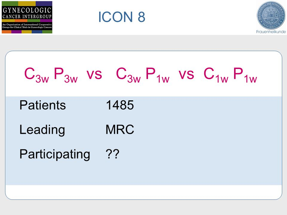 Patients 1485 Leading MRC Participating ICON 8 C 3w P 3w vs C 3w P 1w vs C 1w P 1w