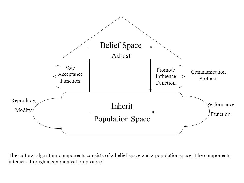 General Features Dual Inheritance (at population and knowledge levels) Knowledge are beacons that guide evolution of the population Supports hierarchical structuring of population and belief spaces.