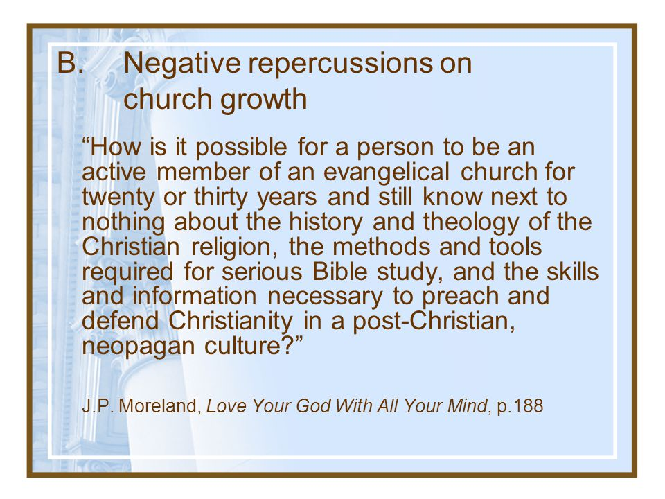 How is it possible for a person to be an active member of an evangelical church for twenty or thirty years and still know next to nothing about the history and theology of the Christian religion, the methods and tools required for serious Bible study, and the skills and information necessary to preach and defend Christianity in a post-Christian, neopagan culture J.P.