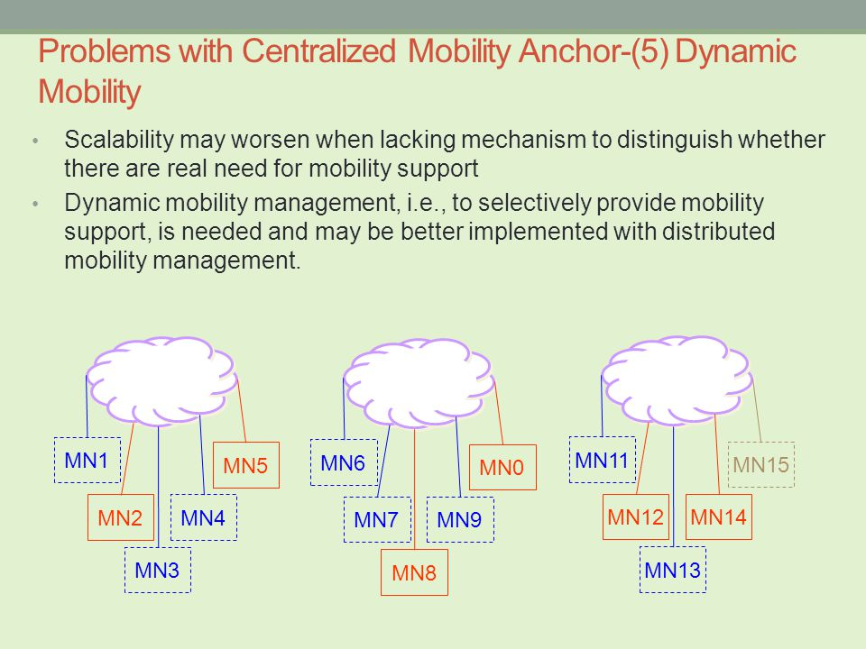Scalability may worsen when lacking mechanism to distinguish whether there are real need for mobility support Dynamic mobility management, i.e., to selectively provide mobility support, is needed and may be better implemented with distributed mobility management.