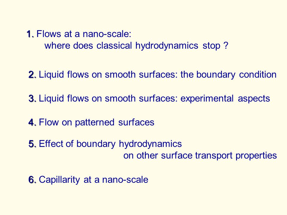 1.1. Flows at a nano-scale: where does classical hydrodynamics stop .