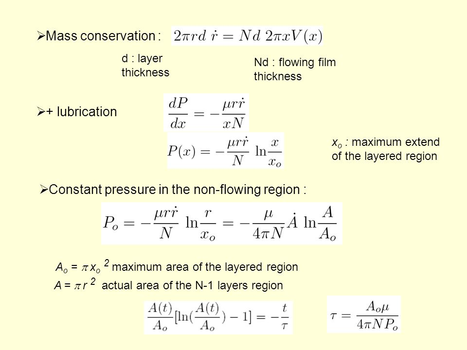  + lubrication x o : maximum extend of the layered region A o =  x o 2 maximum area of the layered region A =  r 2 actual area of the N-1 layers region  Constant pressure in the non-flowing region :  Mass conservation : d : layer thickness Nd : flowing film thickness