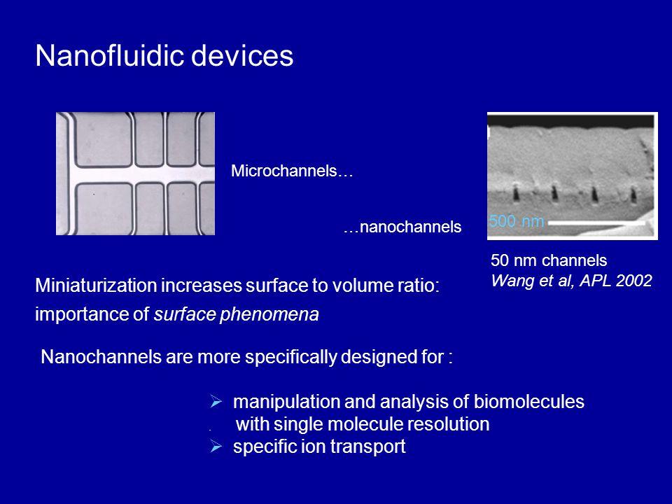 Nanofluidic devices Miniaturization increases surface to volume ratio: importance of surface phenomena  manipulation and analysis of biomolecules.
