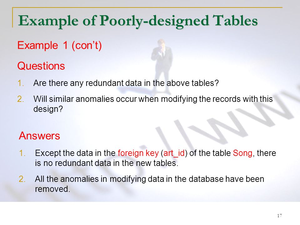17 Example of Poorly-designed Tables Example 1 (con't) Questions 1.Are there any redundant data in the above tables? 2.Will similar anomalies occur wh