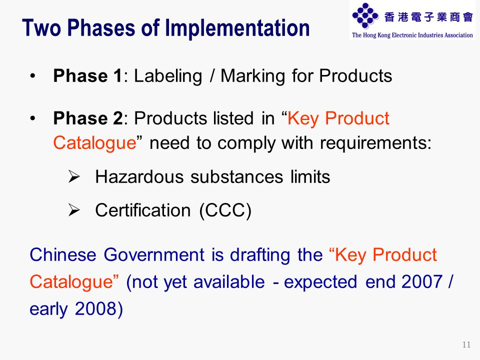 11 Two Phases of Implementation Phase 1: Labeling / Marking for Products Phase 2: Products listed in Key Product Catalogue need to comply with requirements:  Hazardous substances limits  Certification (CCC) Chinese Government is drafting the Key Product Catalogue (not yet available - expected end 2007 / early 2008)