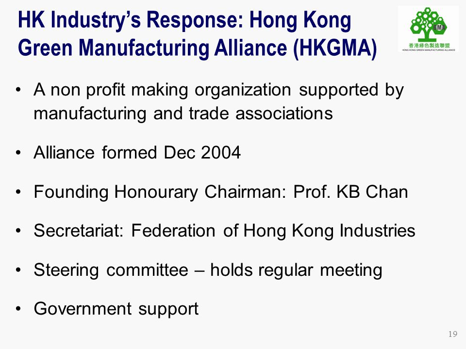 19 A non profit making organization supported by manufacturing and trade associations Alliance formed Dec 2004 Founding Honourary Chairman: Prof.
