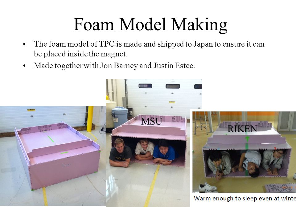 Foam Model Making The foam model of TPC is made and shipped to Japan to ensure it can be placed inside the magnet.