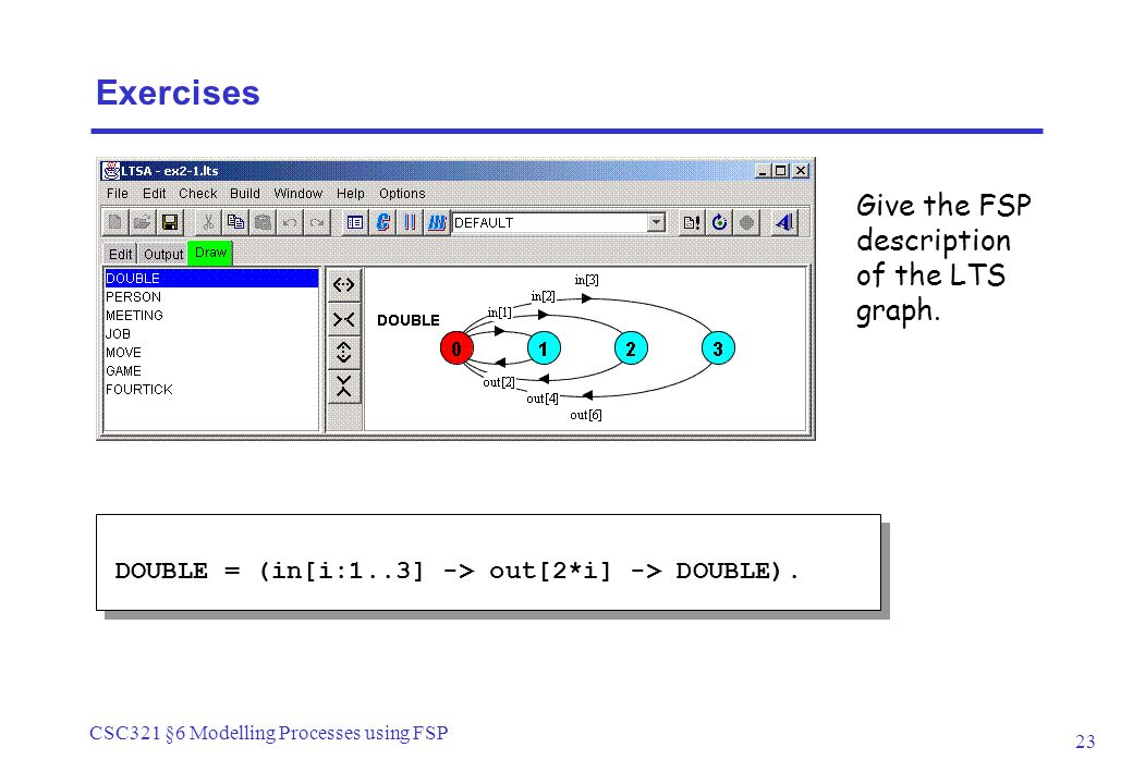 CSC321 §6 Modelling Processes using FSP 23 DOUBLE = (in[i:1..3] -> out[2*i] -> DOUBLE).