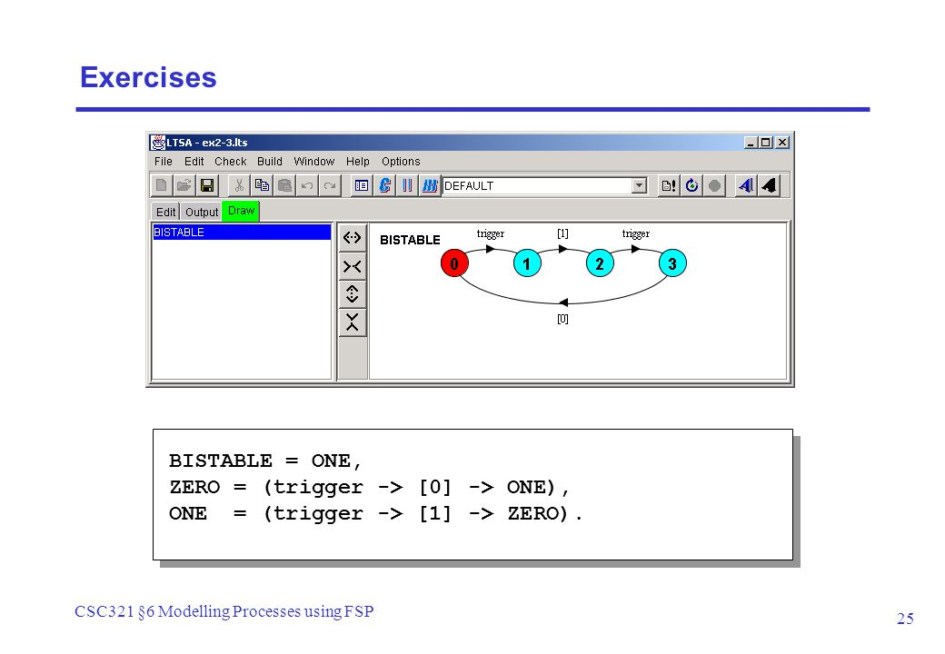 CSC321 §6 Modelling Processes using FSP 25 BISTABLE = ONE, ZERO = (trigger -> [0] -> ONE), ONE = (trigger -> [1] -> ZERO). Exercises
