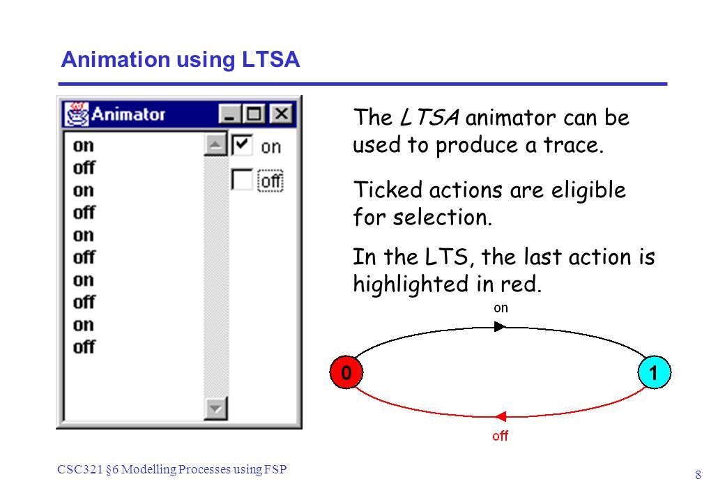 CSC321 §6 Modelling Processes using FSP 8 Animation using LTSA Ticked actions are eligible for selection.