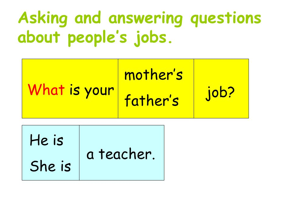 Asking and answering questions about people's jobs.