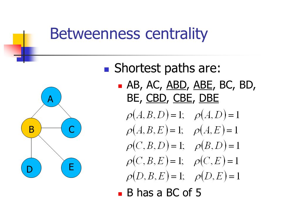 Betweenness centrality B Shortest paths are: AB, AC, ABD, ABE, BC, BD, BE, CBD, CBE, DBE B has a BC of 5 A C D E