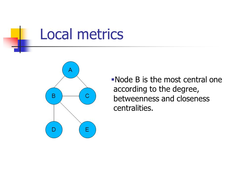 B ED C A Local metrics  Node B is the most central one according to the degree, betweenness and closeness centralities.