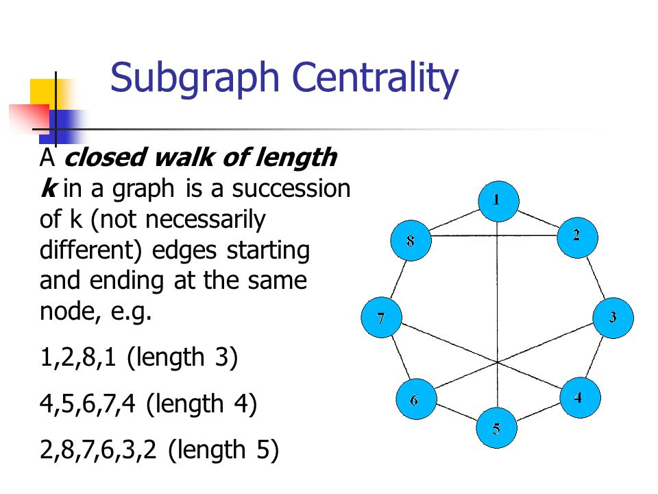 Subgraph Centrality A closed walk of length k in a graph is a succession of k (not necessarily different) edges starting and ending at the same node,