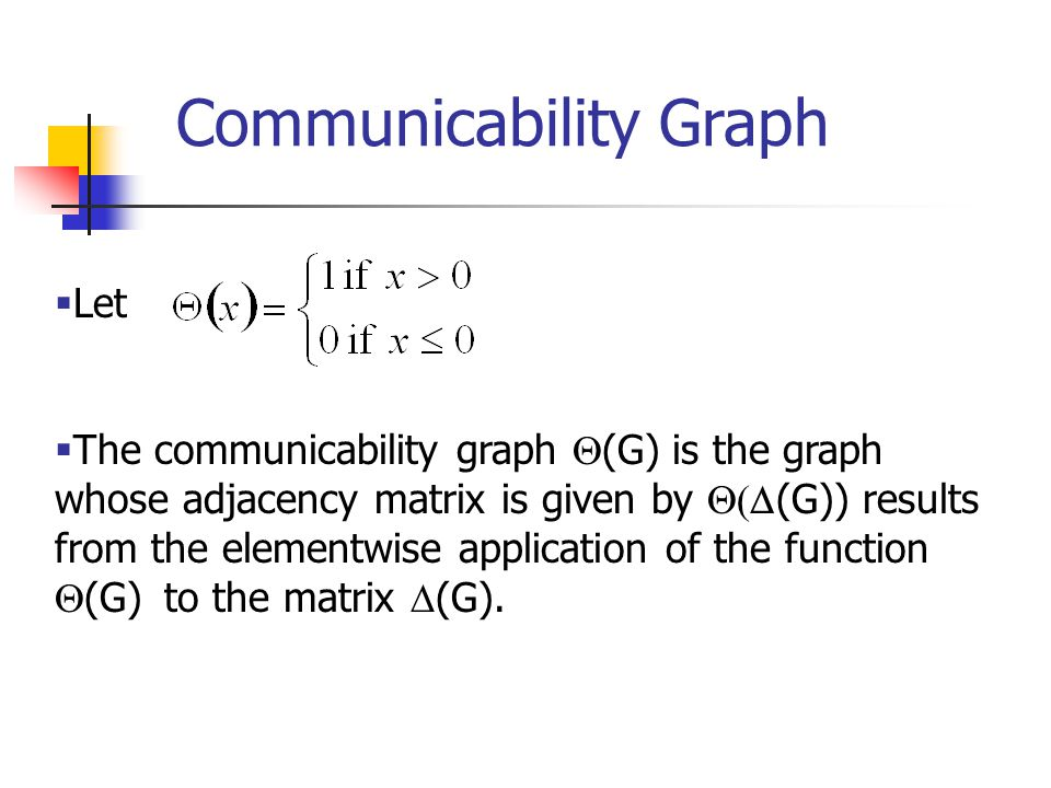  Let  The communicability graph  (G)  is the graph whose adjacency matrix is given by  (G)) results from the elementwise application of the function  (G)  to the matrix  (G).