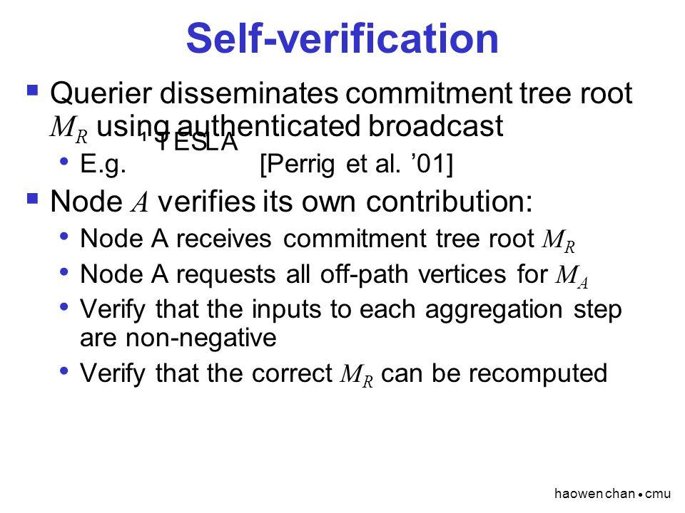 haowen chan  cmu Self-verification  Querier disseminates commitment tree root M R using authenticated broadcast E.g. [Perrig et al. '01]  Node A ve