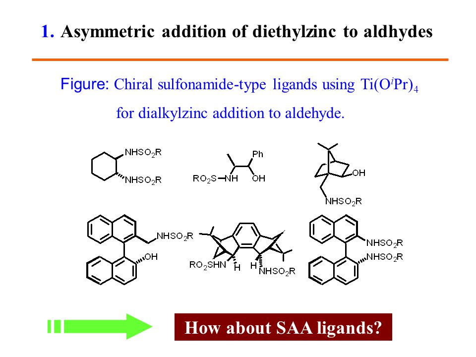 How about SAA ligands? 1. Asymmetric addition of diethylzinc to aldhydes Figure: Chiral sulfonamide-type ligands using Ti(O i Pr) 4 for dialkylzinc ad
