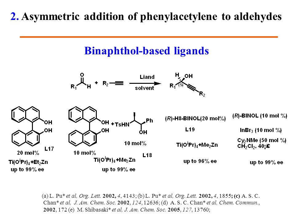 Binaphthol-based ligands (a) L. Pu* et al, Org. Lett. 2002, 4, 4143; (b) L. Pu* et al, Org. Lett. 2002, 4, 1855; (c) A. S. C. Chan* et al, J. Am. Chem