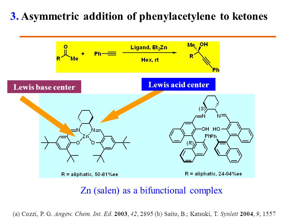 (a) Cozzi, P. G. Angew. Chem. Int. Ed. 2003, 42, 2895 (b) Saito, B.; Katsuki, T. Synlett 2004, 9, 1557 Lewis acid center Lewis base center Zn (salen)