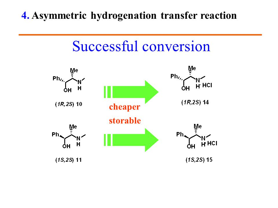 cheaper storable Successful conversion 4. Asymmetric hydrogenation transfer reaction