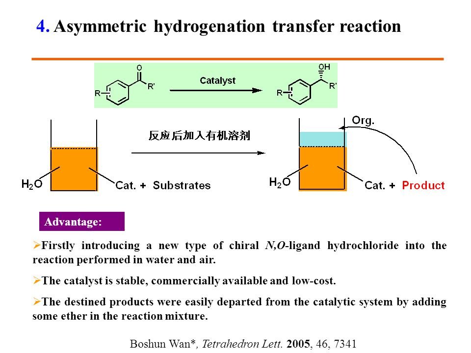  Firstly introducing a new type of chiral N,O-ligand hydrochloride into the reaction performed in water and air.  The catalyst is stable, commercial