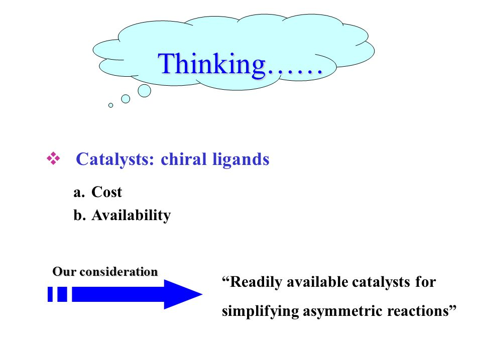 Thinking……  Catalysts: chiral ligands a.Cost b.Availability Readily available catalysts for simplifying asymmetric reactions Our consideration