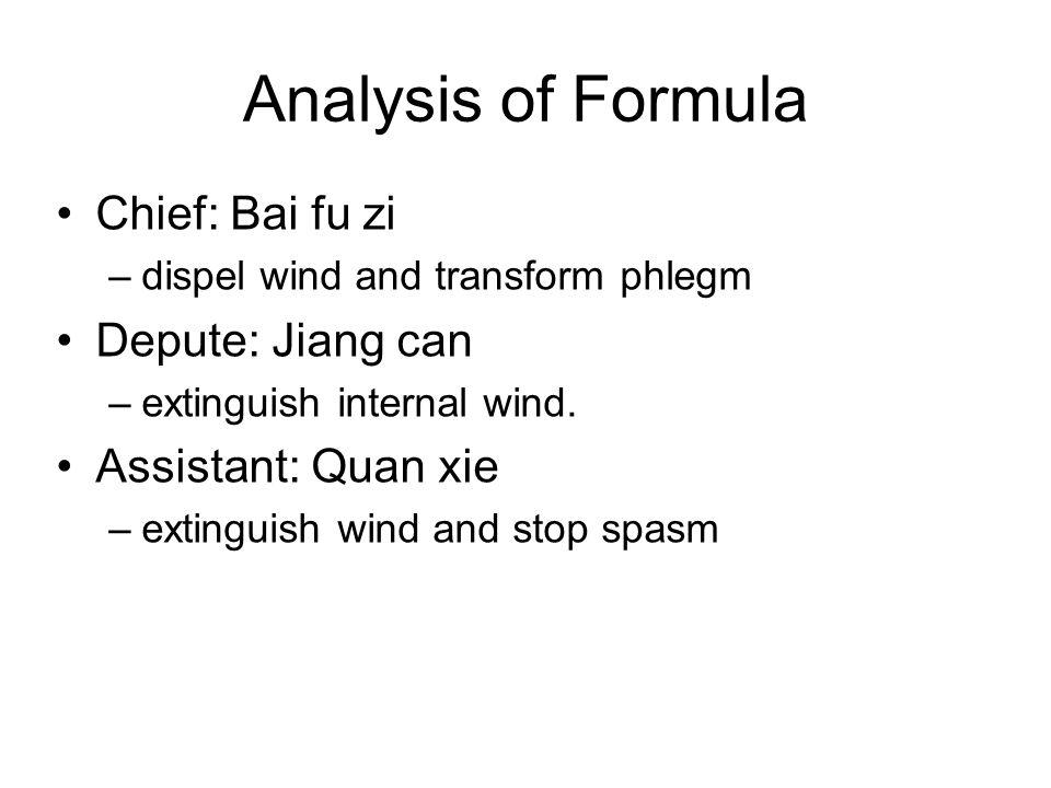 Analysis of Formula Chief: Bai fu zi –dispel wind and transform phlegm Depute: Jiang can –extinguish internal wind. Assistant: Quan xie –extinguish wi
