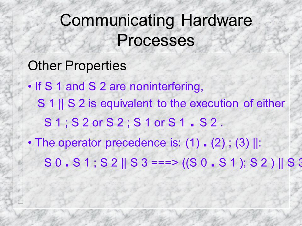 Communicating Hardware Processes Other Properties If S 1 and S 2 are non­interfering, S 1 || S 2 is equivalent to the execution of either S 1 ; S 2 or S 2 ; S 1 or S 1.