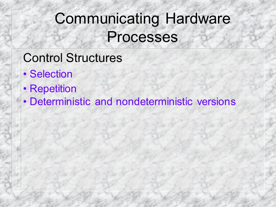 Communicating Hardware Processes Control Structures Selection Repetition Deterministic and non­deterministic versions