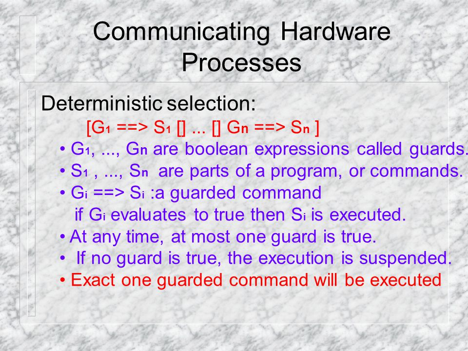 Communicating Hardware Processes Deterministic selection: [G 1 ==> S 1 []...