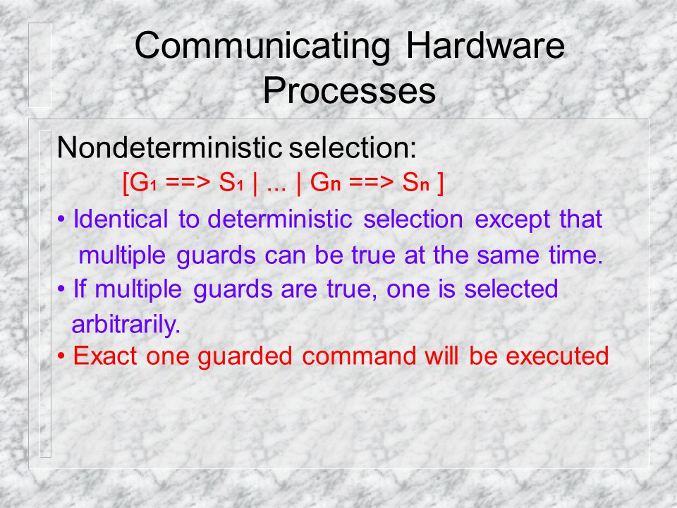 Communicating Hardware Processes Non­deterministic selection: [G 1 ==> S 1 |...
