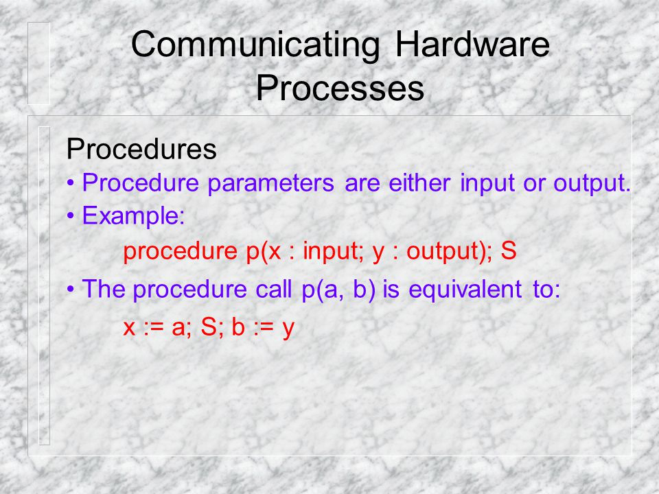 Communicating Hardware Processes Procedures Procedure parameters are either input or output.