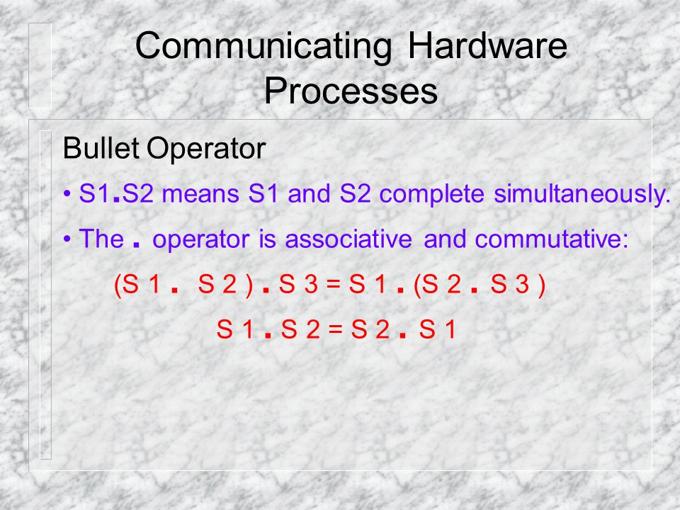 Communicating Hardware Processes Bullet Operator S1.
