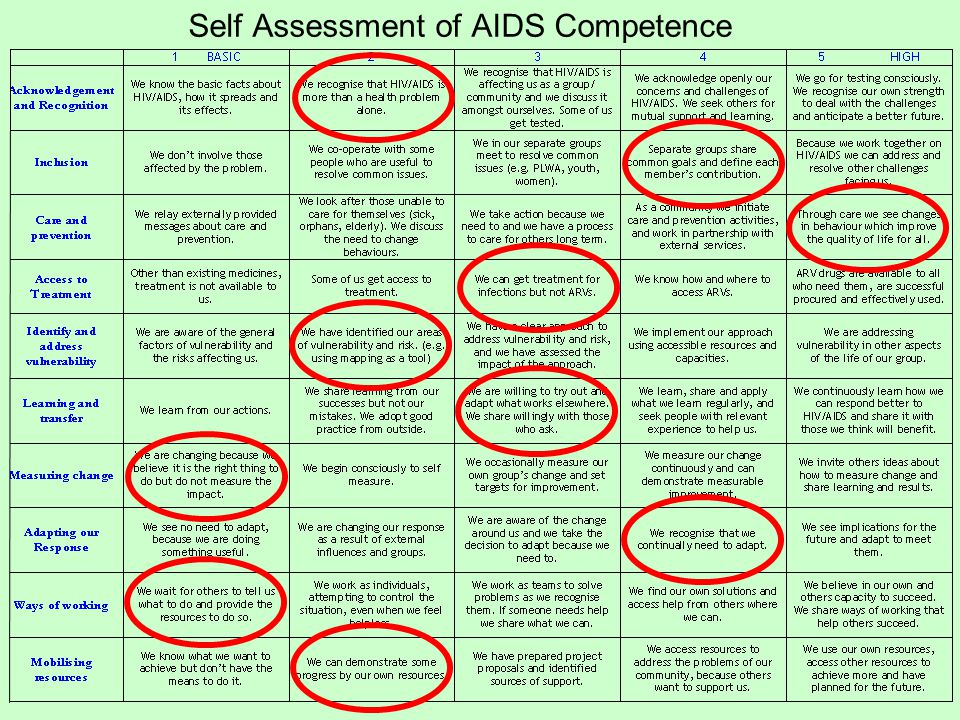 Self Assessment of AIDS Competence