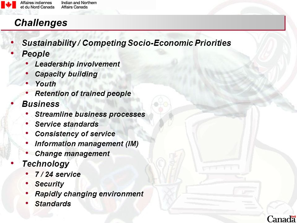 18 Sustainability / Competing Socio-Economic Priorities People Leadership involvement Capacity building Youth Retention of trained people Business Streamline business processes Service standards Consistency of service Information management (IM) Change management Technology 7 / 24 service Security Rapidly changing environment Standards Challenges