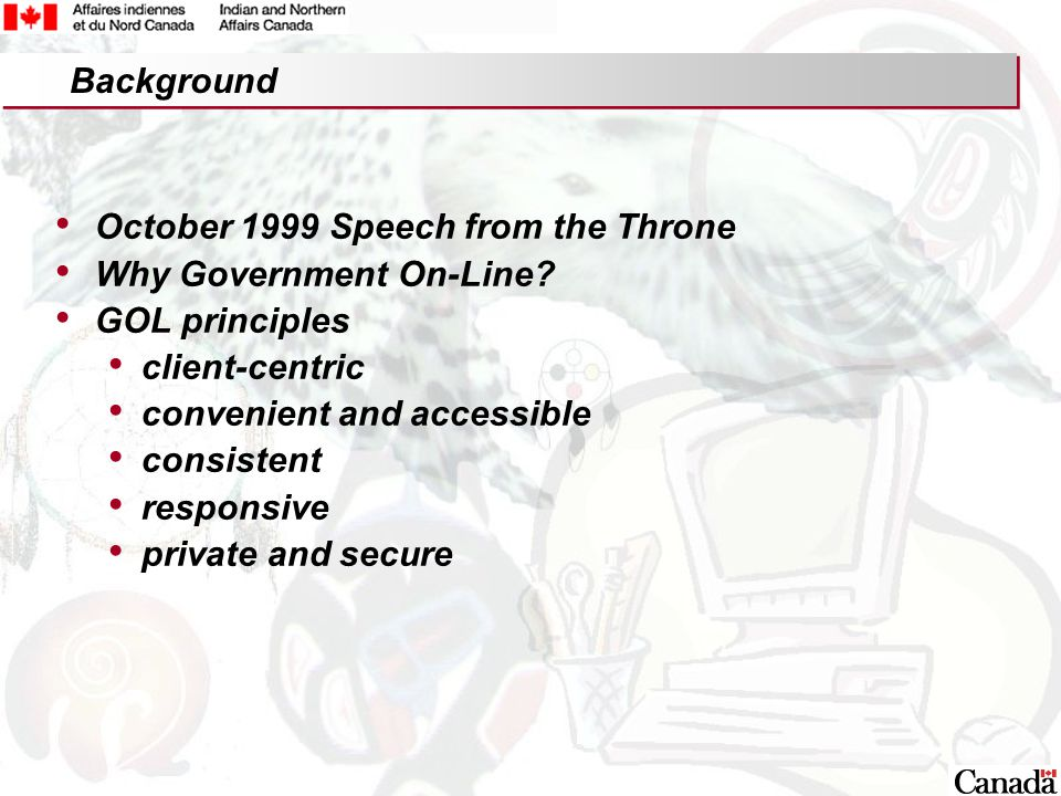 2 October 1999 Speech from the Throne Why Government On-Line.