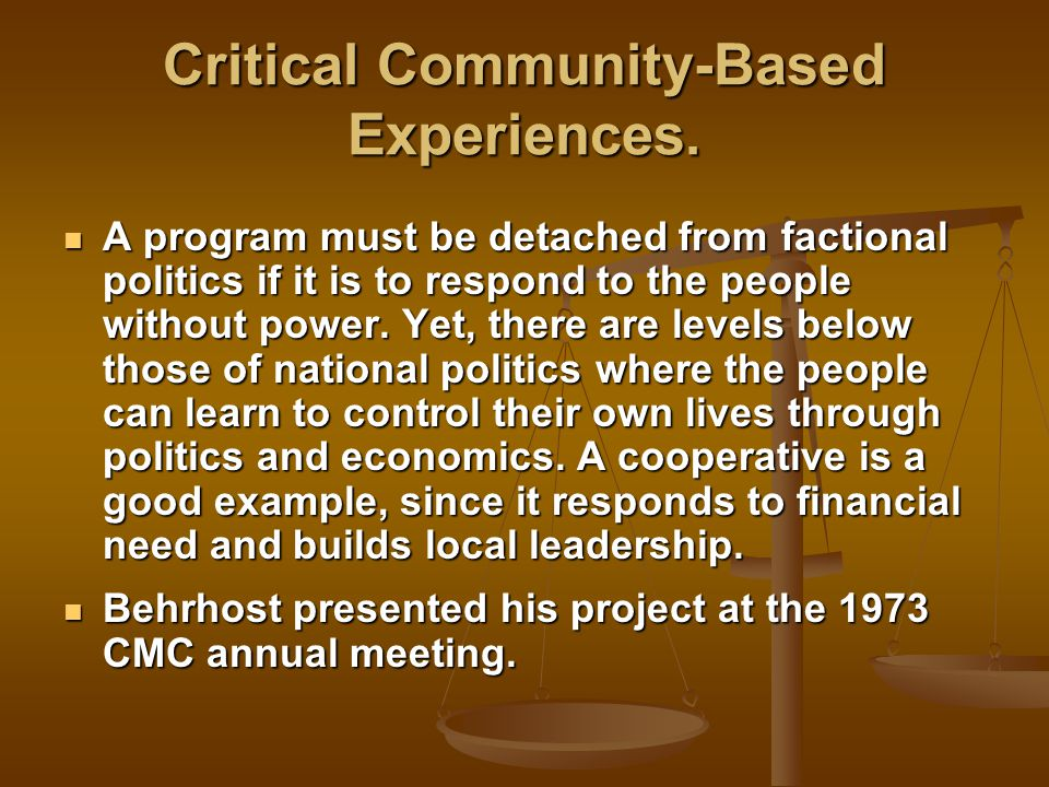 Critical Community-Based Experiences.