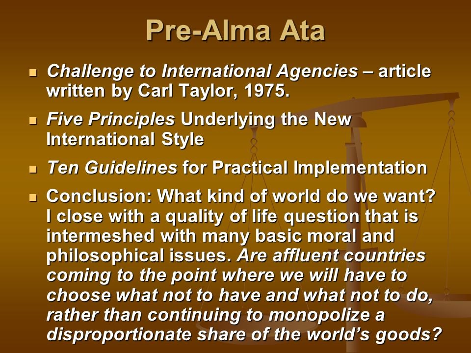 Pre-Alma Ata Challenge to International Agencies – article written by Carl Taylor, 1975.