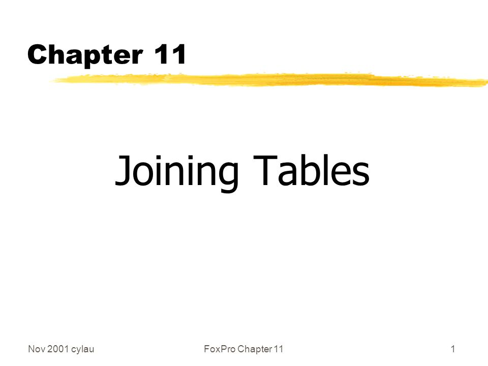 Nov 2001 cylauFoxPro Chapter 1112 Cross-join (Natural join) (2) SELECT * FROM table1, table2 zwill give (2 x 3 = 6 records, m+n columns) R1r1 R1r2 R1r3 R2r1 R2r2 R2r3