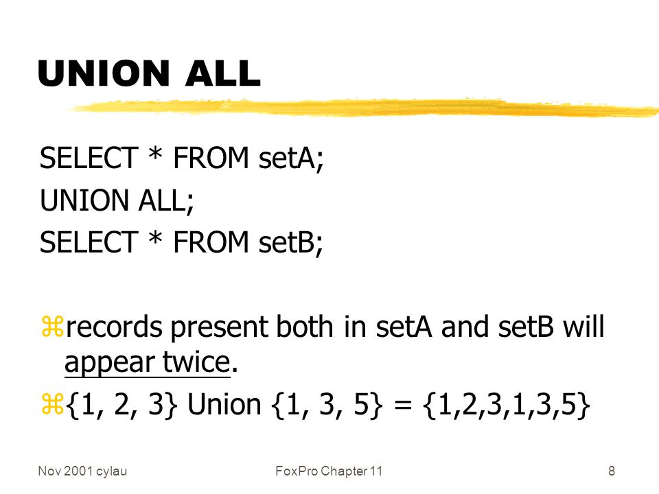 Nov 2001 cylauFoxPro Chapter 119 Example SELECT * FROM s6; UNION ALL; SELECT * FROM s7; WongCYC KongLocomotive ChanMusic LeeDrama CheungEnglish WongCYC Ho z WongCYC appears twice z Result obtained by placing s6 on top of s7 z NOT Sorted
