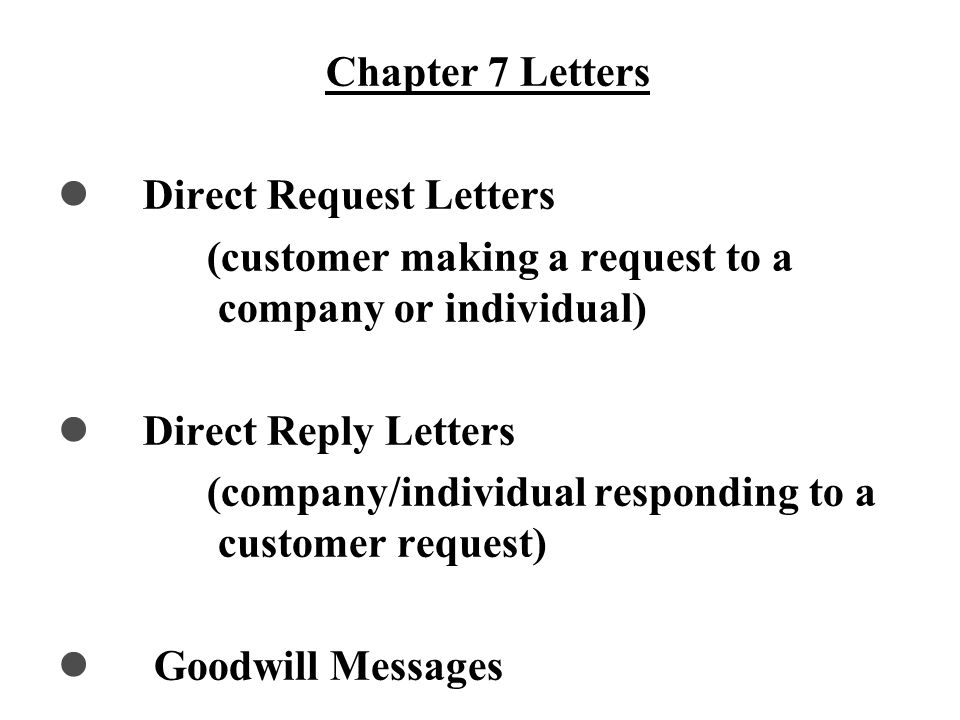 Direct Pattern for Routine Letters Opening: State the main idea Will you please answer the following questions...