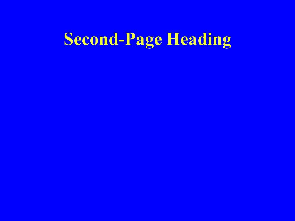 Second-Page Heading