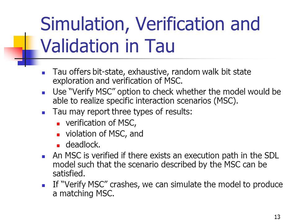 "13 Simulation, Verification and Validation in Tau Tau offers bit-state, exhaustive, random walk bit state exploration and verification of MSC. Use ""Ve"