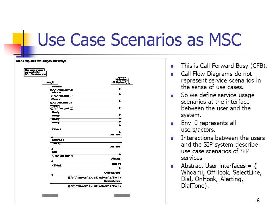 8 This is Call Forward Busy (CFB). Call Flow Diagrams do not represent service scenarios in the sense of use cases. So we define service usage scenari