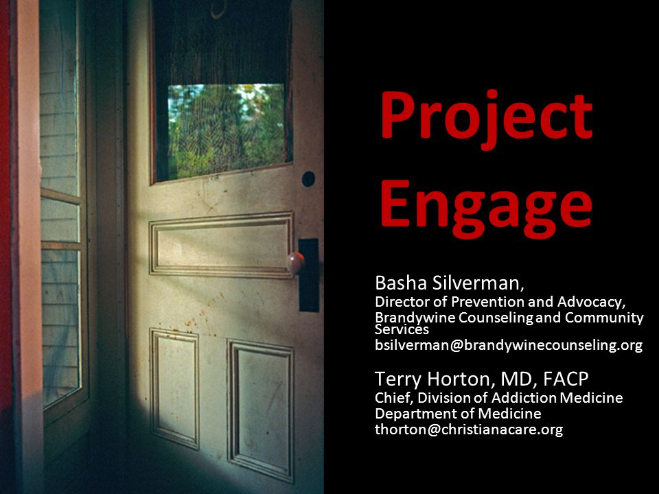 Project Engage Basha Silverman, Director of Prevention and Advocacy, Brandywine Counseling and Community Services bsilverman@brandywinecounseling.org Terry Horton, MD, FACP Chief, Division of Addiction Medicine Department of Medicine thorton@christianacare.org